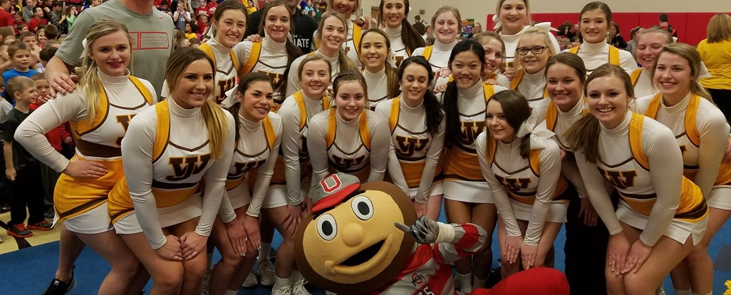 High School Cheerleaders with Brutus and Buckeye Football Players