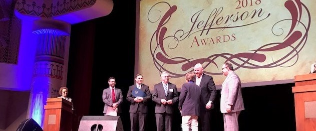 Santino receiving his Jefferson Award for raising money for cancer research