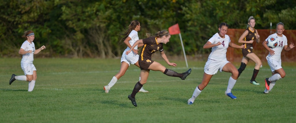 Girls soccer in action