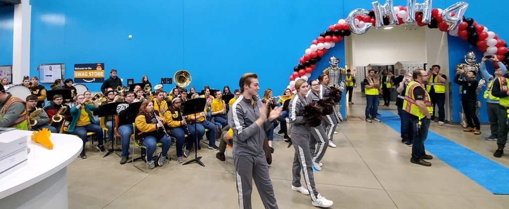 High School Band and Cheerleaders at Amazon opening