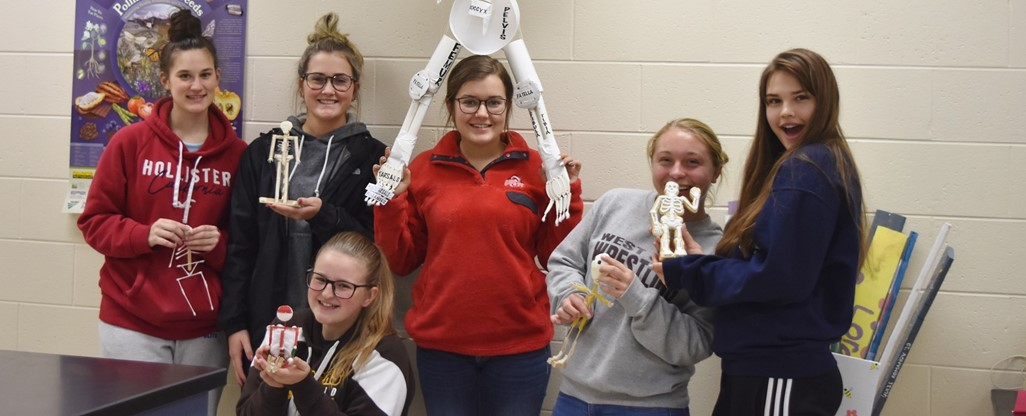 High School students make skeletons