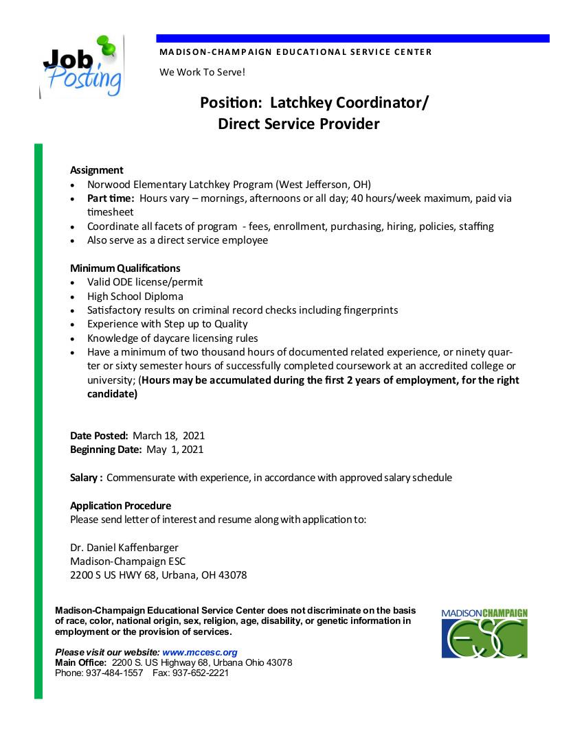 Latchkey job details